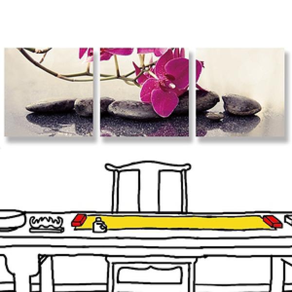 【24mama 掛畫】三聯式 油畫布 無框畫 50x50cm-紅色蘭花油畫布無時鐘