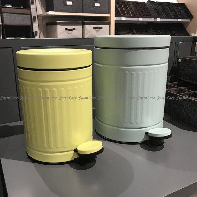 SwanLace優選 檸檬色豎紋雙層不銹鋼腳踏式阻尼靜音垃圾桶