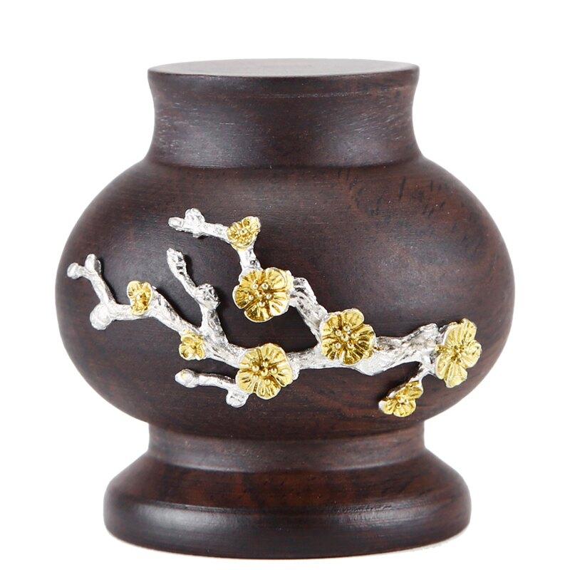 晟窯黑檀木鑲錫蓋置手工實木茶壺蓋托盤蓋碗蓋架功夫茶道家用零配