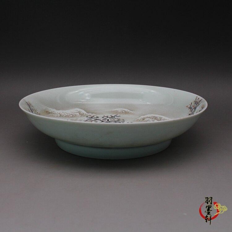 清乾隆 粉彩手繪雪景山水 盤 古董古玩仿古陶瓷器精品老貨收藏