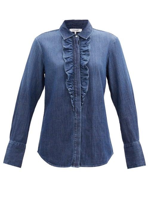 Frame - Ruffled Denim Shirt - Womens - Denim