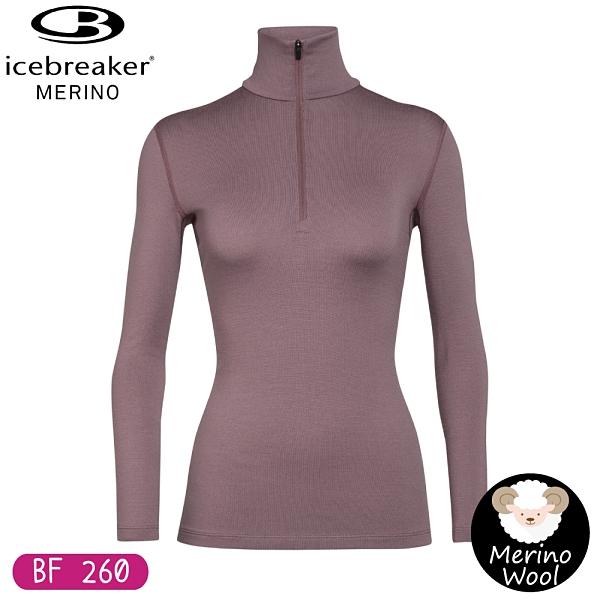 【Icebreaker 女 Tech 半開襟長袖上衣 BF260《桃紫》】104390/保暖羊毛衫/套頭內搭