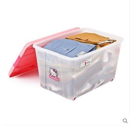 愛麗思帶輪子放寶寶衣物塑料儲衣箱朔料裝衣服收納整理收容容納盒