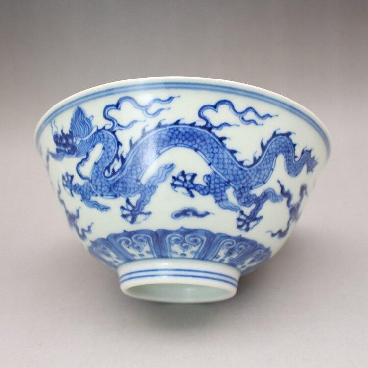 大明 成化年制青花龍紋宮碗 古玩古董陶瓷器仿古老貨收藏 羽墨軒