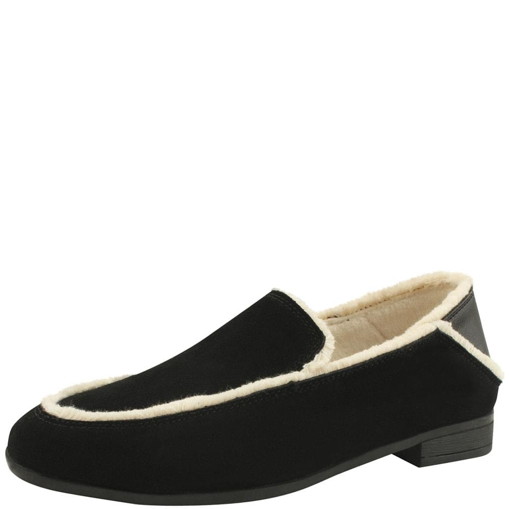 韓國空運 - Cowhide Wool Babushu Flat Loafers Black 樂福鞋