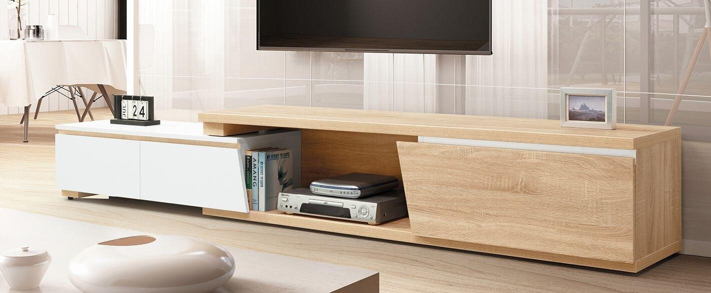 【簡單家具】,H316-02 傑斯6尺伸縮長櫃(白/原木),大台北都會區免運費