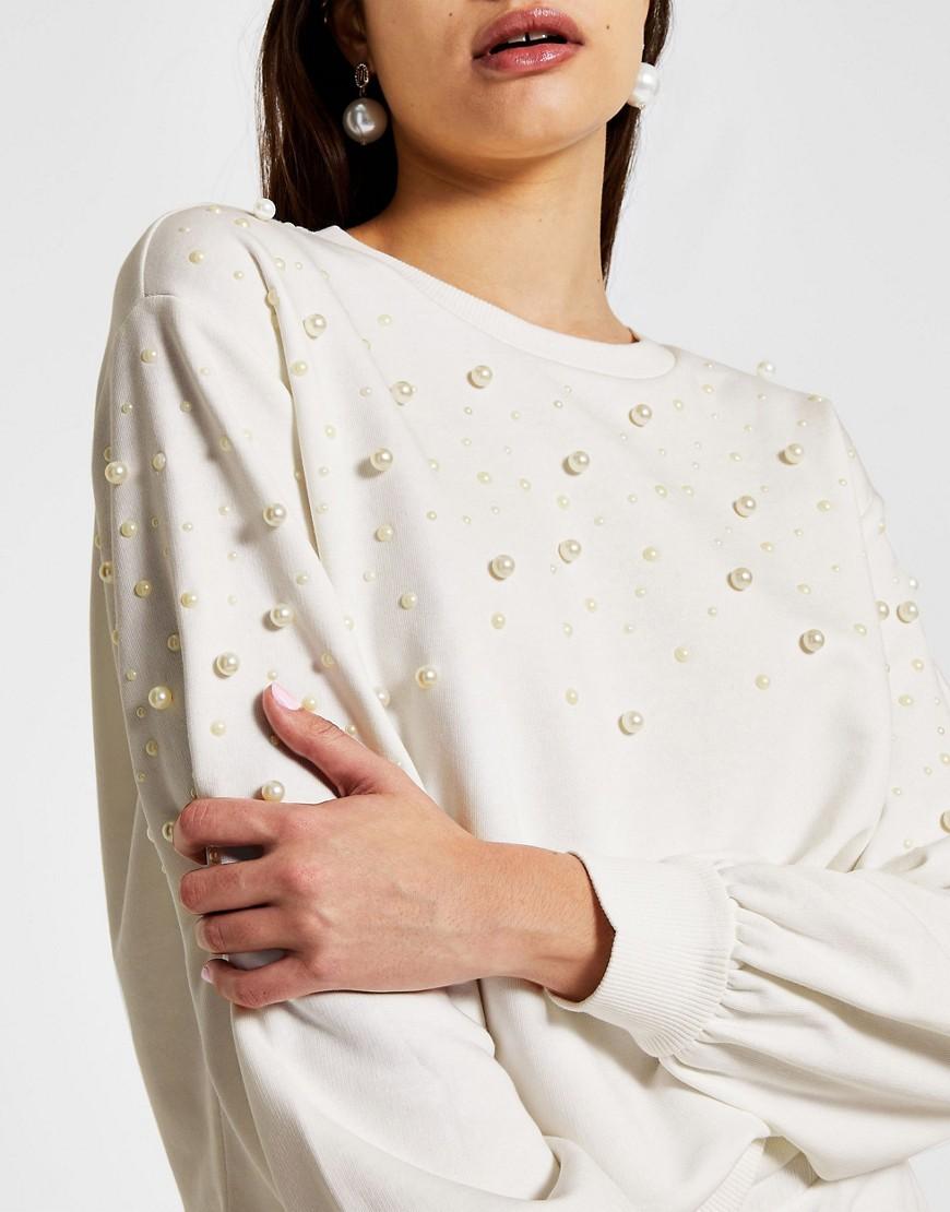 River Island pearl co-ord sweatshirt in white