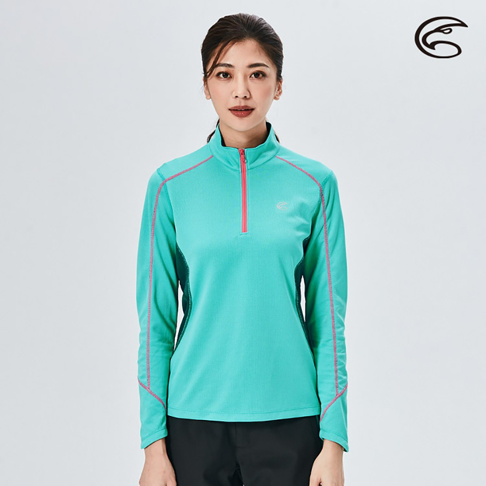ADISI 女半門襟抗靜電紗長袖上衣AL2021065【湖水藍】(S-XL) 透氣保暖 排汗速乾 機能服