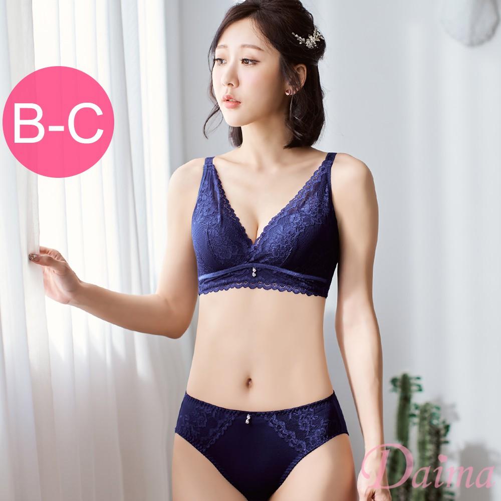 【黛瑪Daima】B-C 蕾絲美背成套無鋼圈內衣 藍色 2728