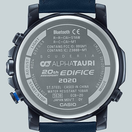 CASIO卡西歐 EDIFICE ECB-20AT-2A 限量藍芽藍白雙色錶面Scuderia AlphaTauri賽車聯名錶款 46mm