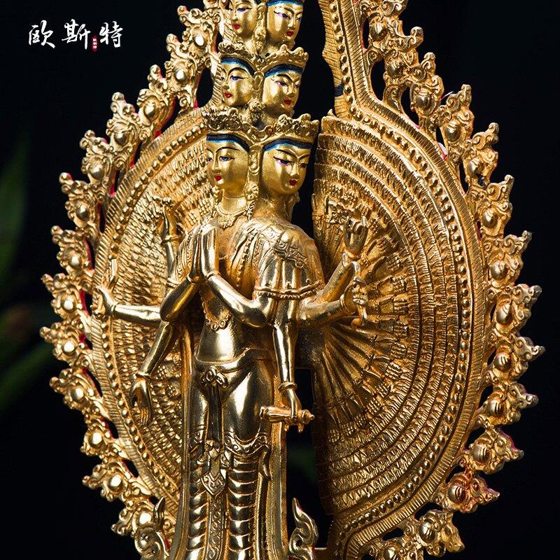 藏傳佛教密宗佛像擺件 仿尼泊爾10寸純銅全鎏金手工千手觀音佛像