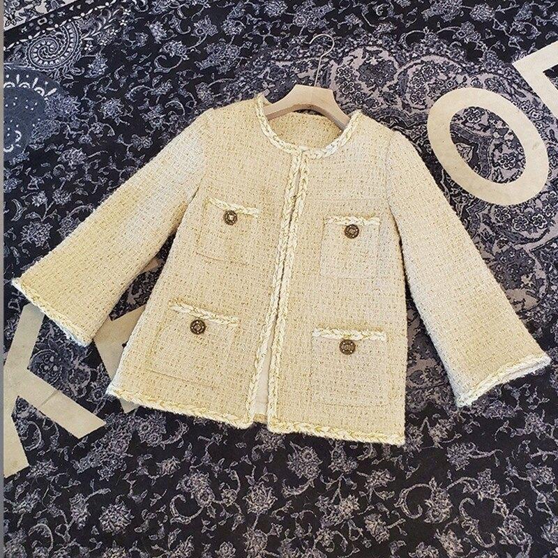 毛呢外套短版大衣-金絲粗花呢多口袋小香風女外套73zg38【獨家進口】【米蘭精品】