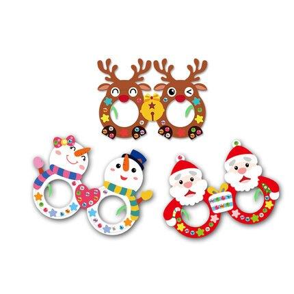diy手工材料包可愛兒童圣誕節眼鏡派對裝飾拍照道具包裝紙袋帽子