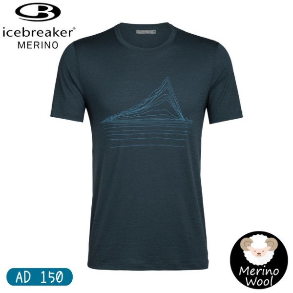 【Icebreaker 男 Tech Lite 圓短T AD150地熱波動《海藻綠》】105158/快乾機能服/羊毛