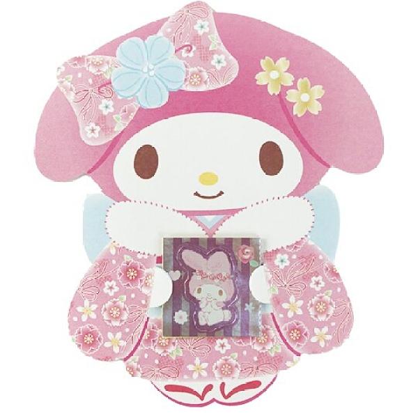 小禮堂 美樂蒂 日製 迷你造型新年紅包袋 壓歲錢袋 禮金袋 信封袋 (3入 粉 和服) 4550337-91443