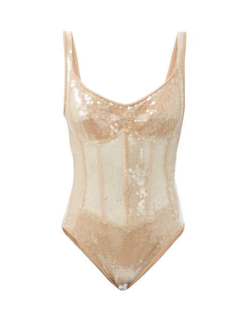 David Koma - Sequinned Corset Bodysuit - Womens - Beige