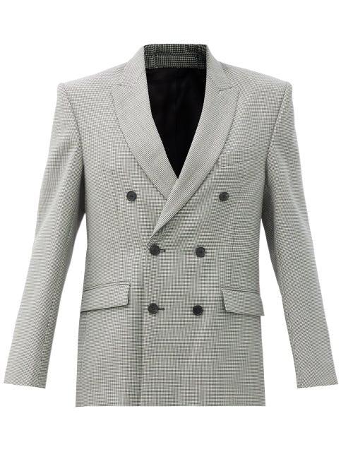 Wardrobe. nyc - Houndstooth-check Merino-wool Twill Blazer - Womens - Black White