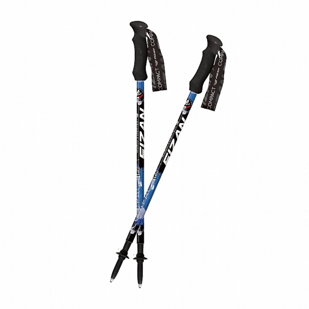 FIZAN 超輕三節式健行登山杖(2入) 台灣藍鵲