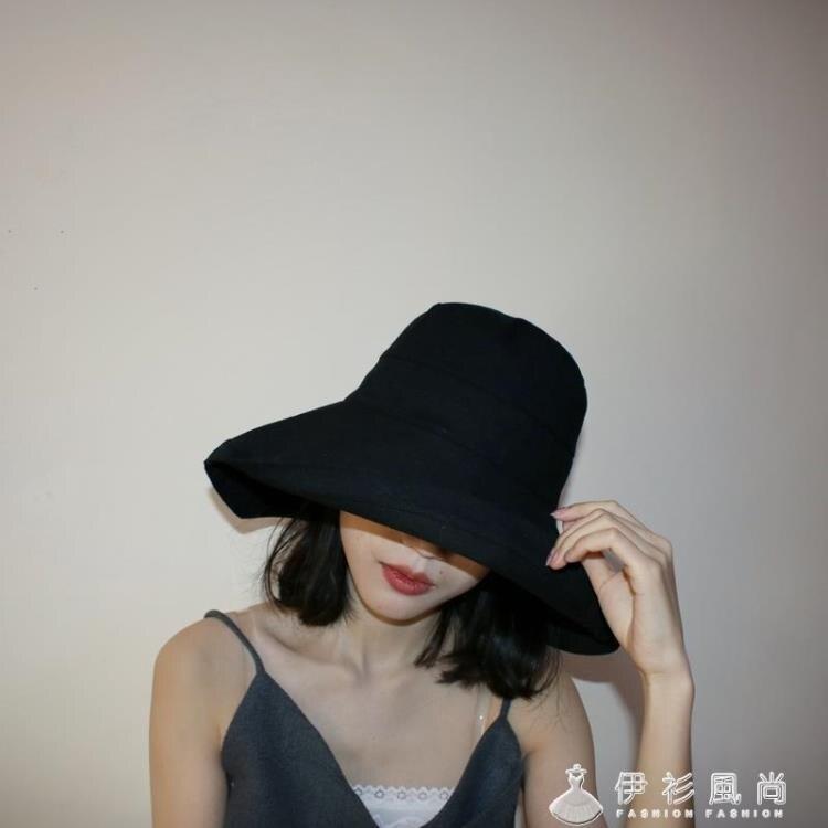 黑色漁夫帽女遮陽帽子夏韓版潮百搭大沿太陽帽防曬遮臉日系大帽檐