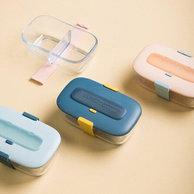 可愛日式微波爐專用玻璃輕食飯盒分隔型上班族兩格打飯便當盒