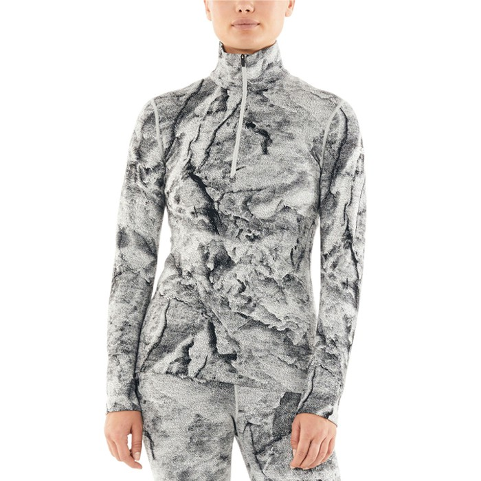 Icebreaker 女 Vertex 高領半開襟長袖上衣 BF260 潑墨灰白 IB105317-101 綠野山房