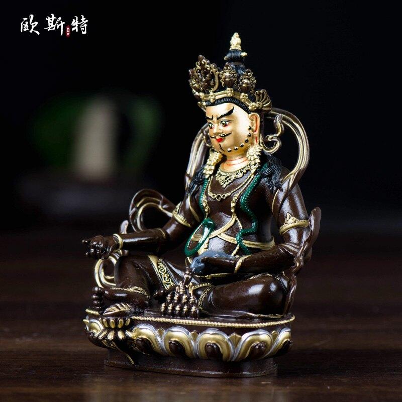 黃財神佛像 4寸藏傳佛教臺灣銅描金描銀藏巴拉 密宗供奉佛像擺件