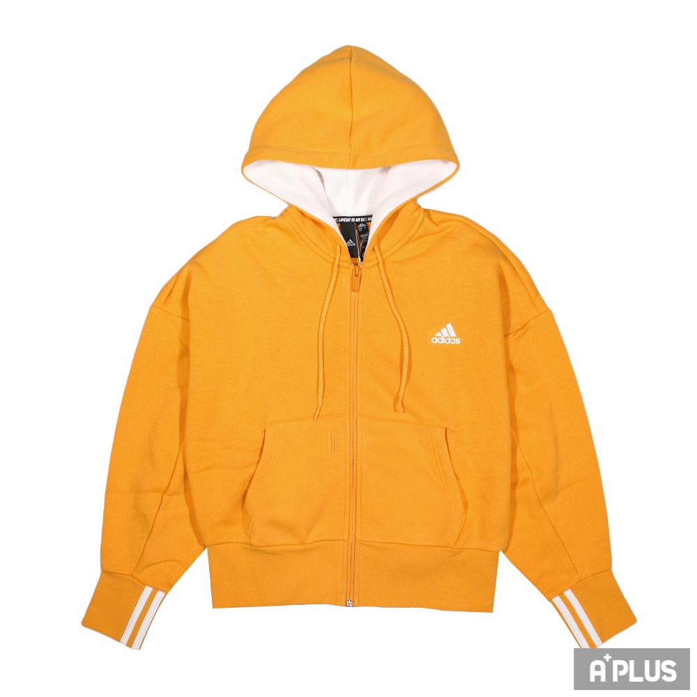 ADIDAS 女棉質運動外套(連帽) W BIG BOS FZ HD 舒適 短版 薄刷毛 鮮黃色-GC6977