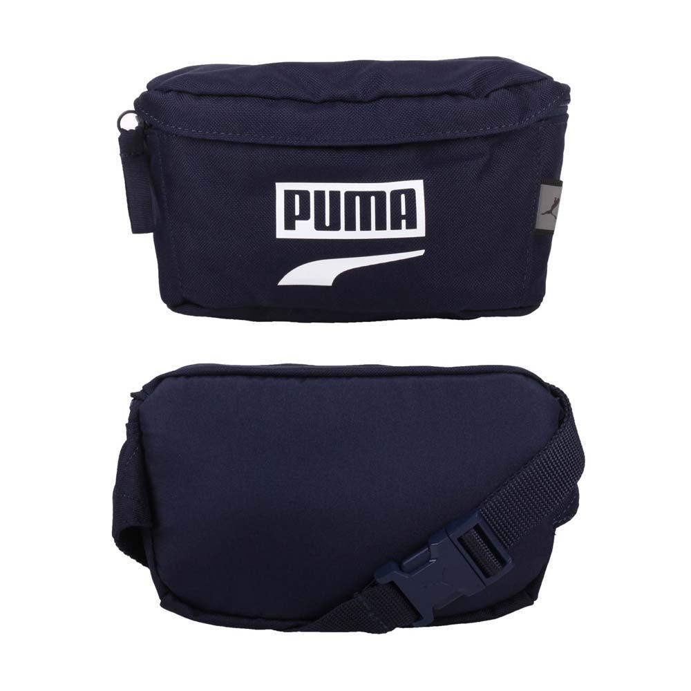 PUMA PLUS腰包-臀包 側背包 慢跑 單車 自行車 反光 丈青白 F