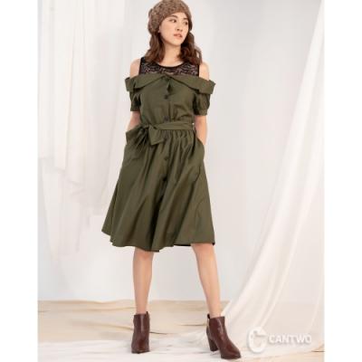 CANTWO一字領露肩修身綁帶造型洋裝-二色