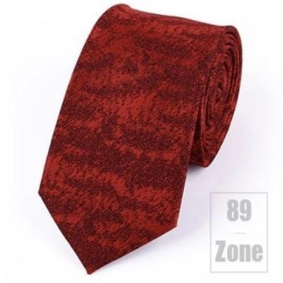 【89 zone】法式潮男滌絲小雪花窄版領帶 (紅色)