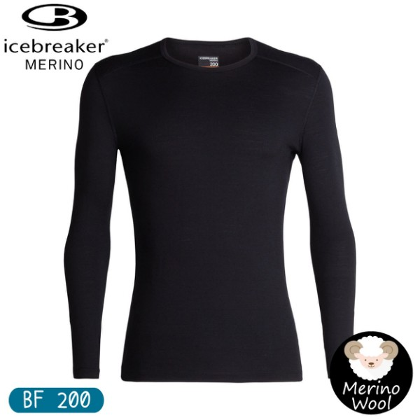 【Icebreaker 男 Oasis素色圓領長袖上衣 BF200《黑》】104365/保暖羊毛衫/機能服/內搭