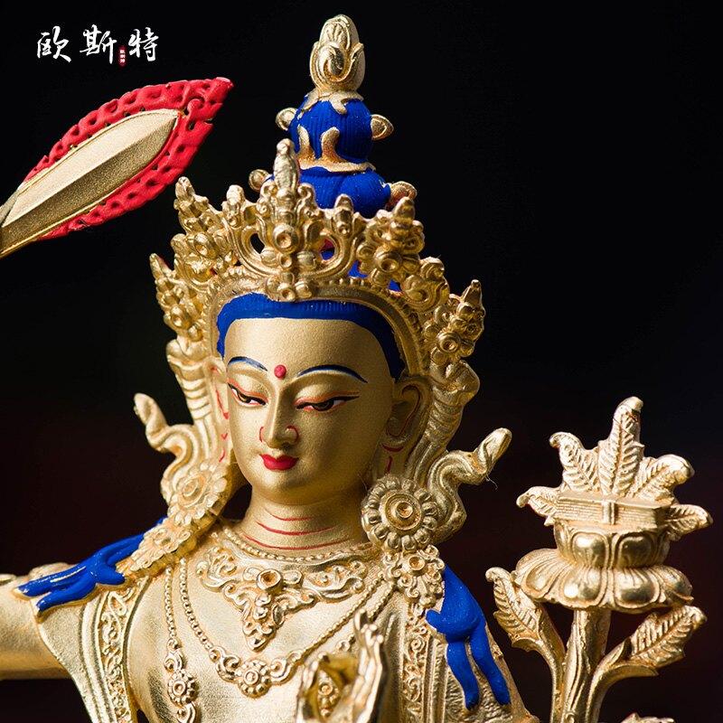 歐斯特 藏傳佛教用品密宗佛像擺件銅全鎏金5寸文殊菩薩佛像