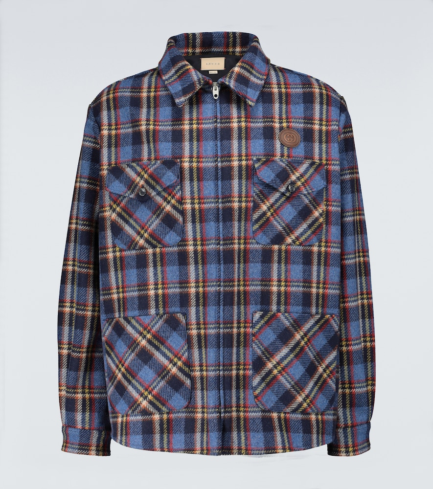 Checked overshirt with tiger patch