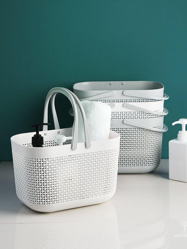 可愛小號男女學生澡堂手提塑料洗澡筐沐浴籃子浴兜浴室洗漱框