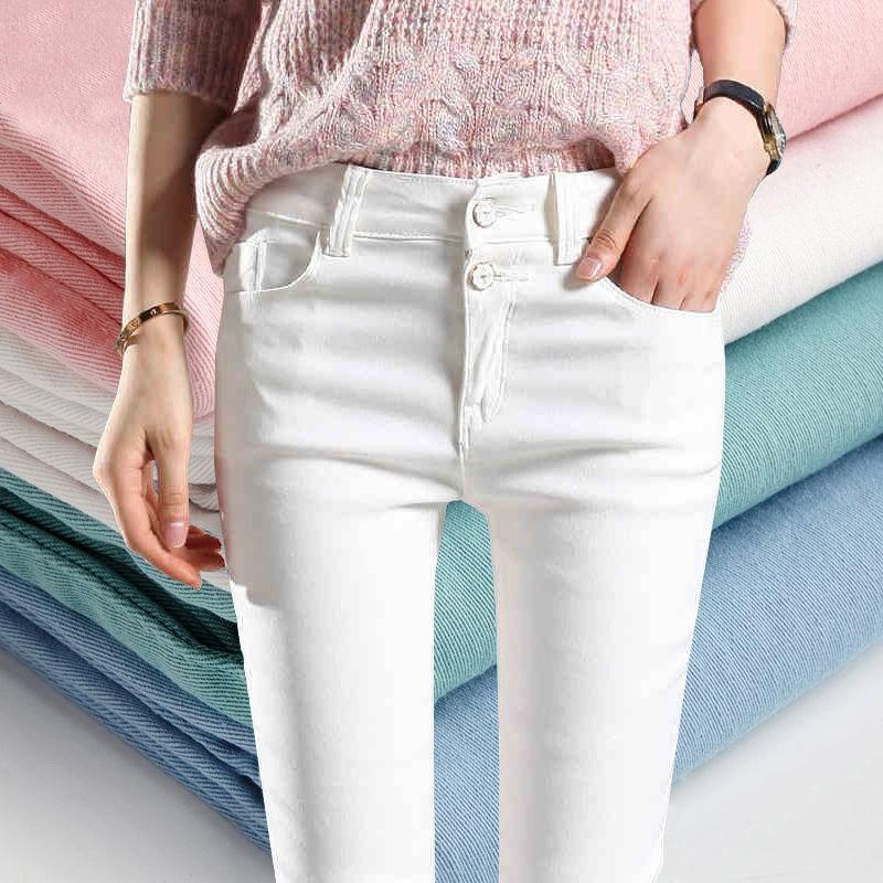 【现货上新】打底褲女外穿秋季薄款小腳褲新款女褲牛仔褲鉛筆褲白色褲子女長褲