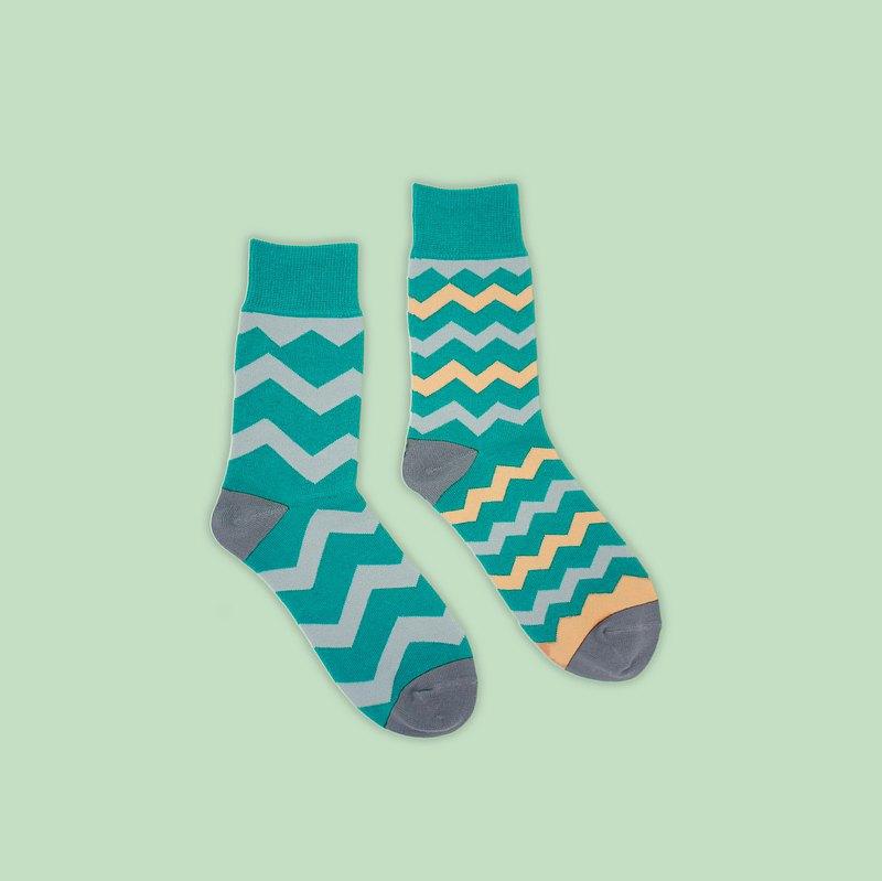 不對稱的和諧/藍綠(L)-MIT設計中筒襪