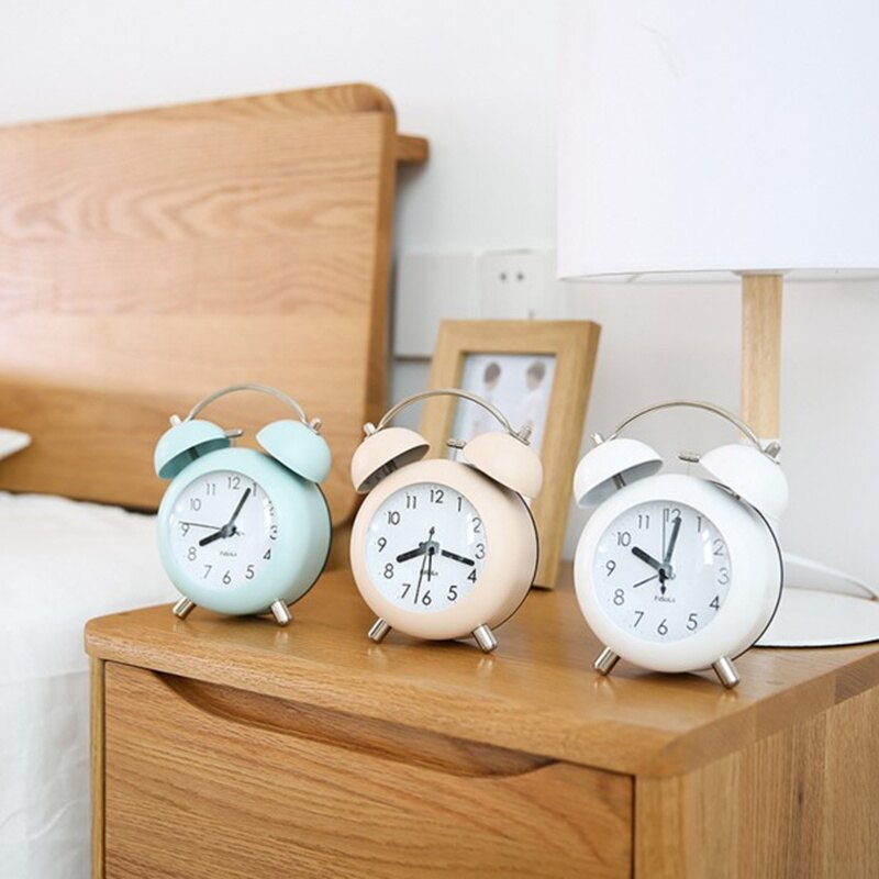 可愛兒童學生用床頭夜光靜音打鈴小鬧鐘實用簡約北歐風格迷你鐘表