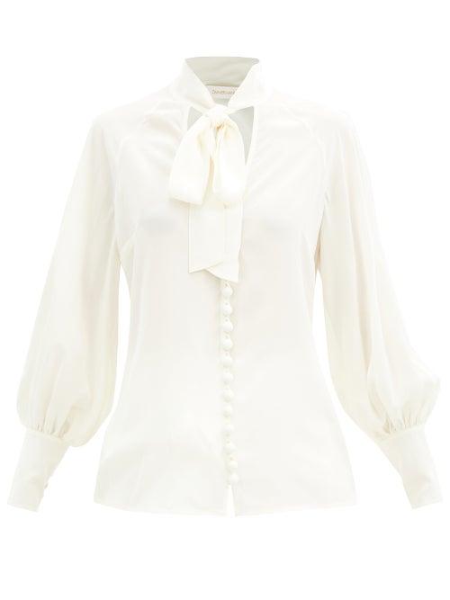 Zimmermann - Pussybow Silk Blouse - Womens - Ivory