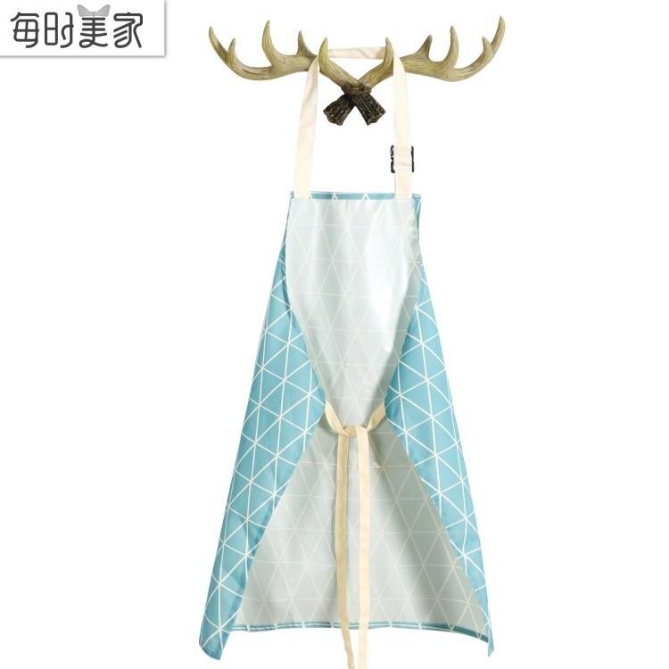 韓版時尚圍裙廚房防水防污做飯圍裙咖啡店美甲店服務員男女工作服