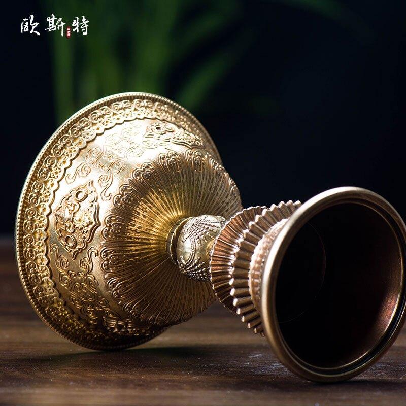佛教用品 供佛長明燈八吉祥雕花供燈酥油蠟燭底座銅酥油燈座