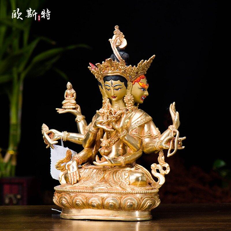 歐斯特 藏傳佛教 尼泊爾 手工制作 銅全鎏金 尊勝佛母 高23cm佛像
