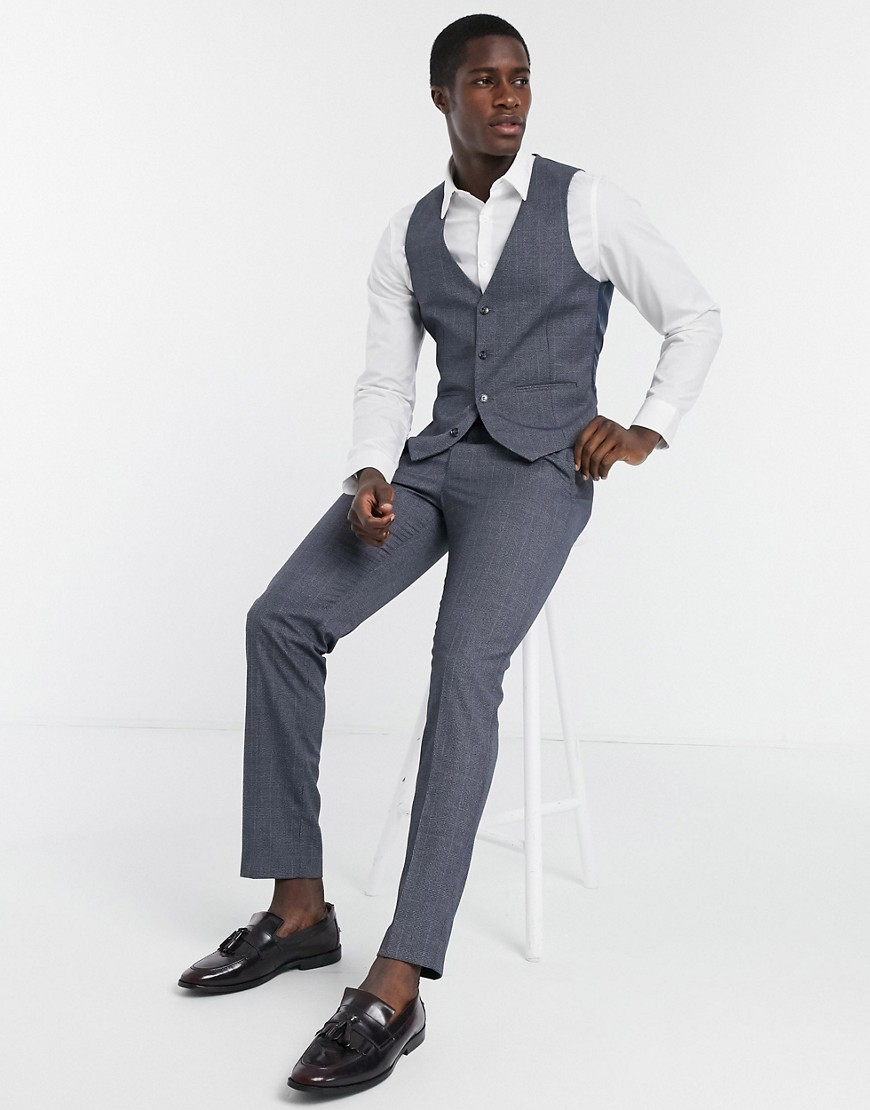Farah grey check slim fit suit trousers