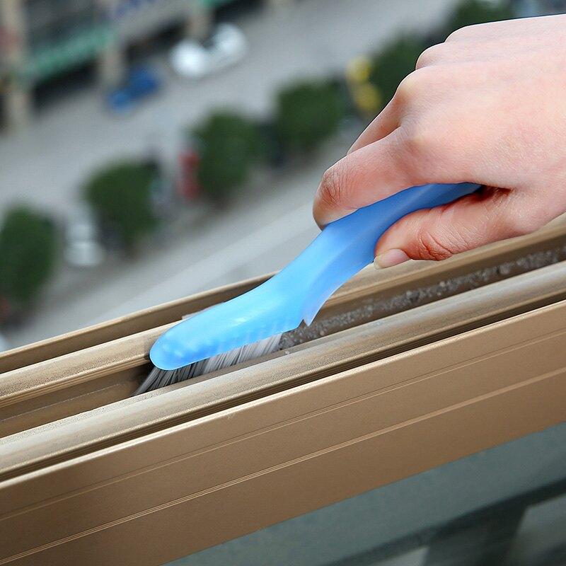 可折疊帶刮刀玻璃窗縫隙窗槽刷窗戶死角凹槽掃清洗清潔小刷子工具
