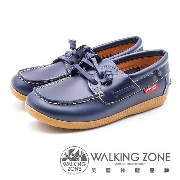 【南紡購物中心】WALKING ZONE 時尚經典休閒帆船鞋 雷根鞋 女鞋 藍(另有咖)