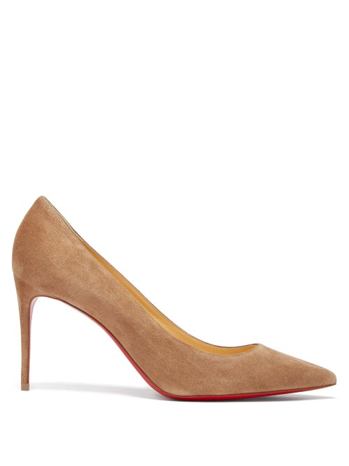 Christian Louboutin - Kate 85 Suede Pumps - Womens - Brown