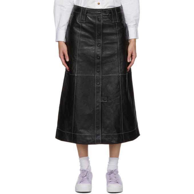 GANNI 黑色皮革半身裙