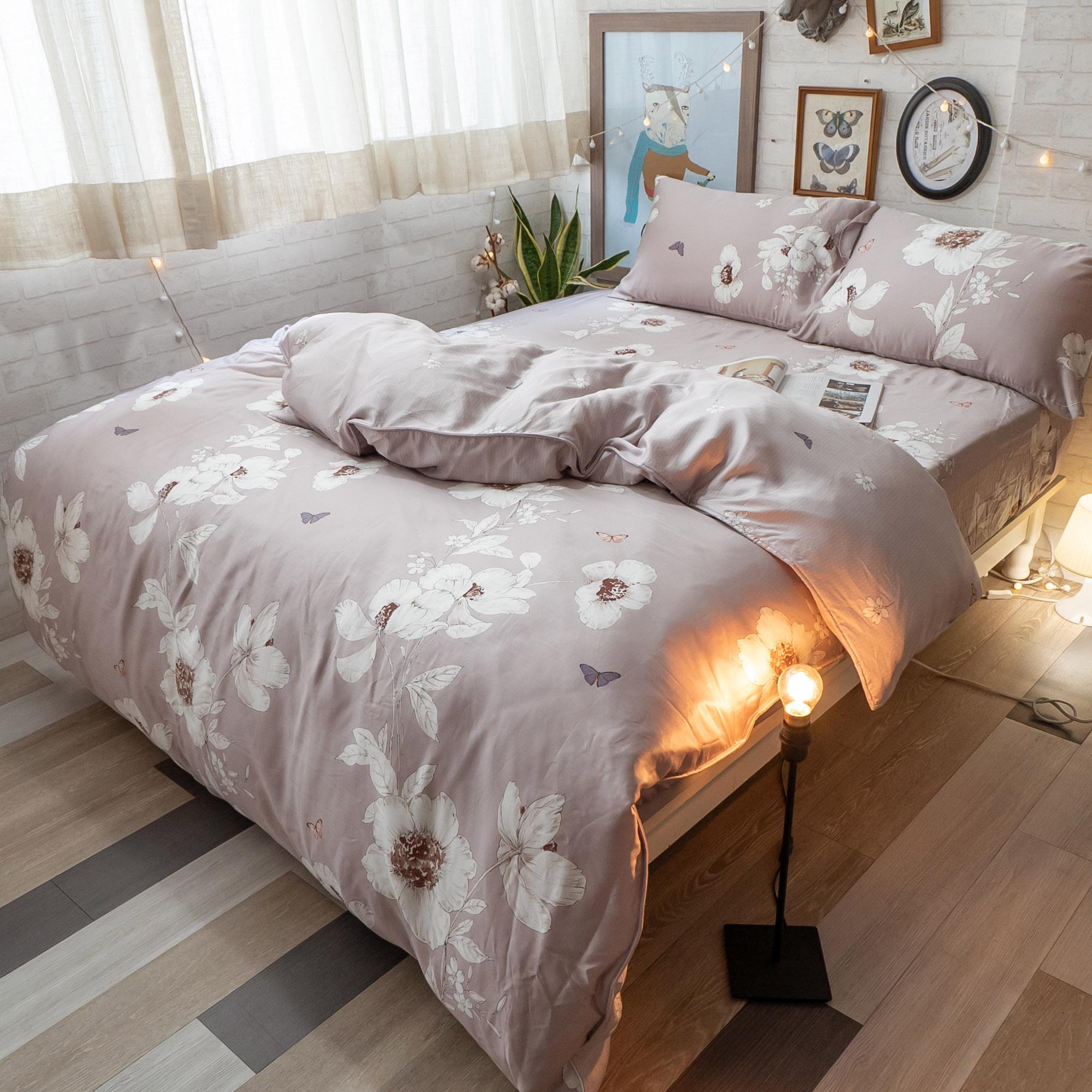 台灣製100%天絲 薄床包兩用被組合 乾燥花【棉床本舖】