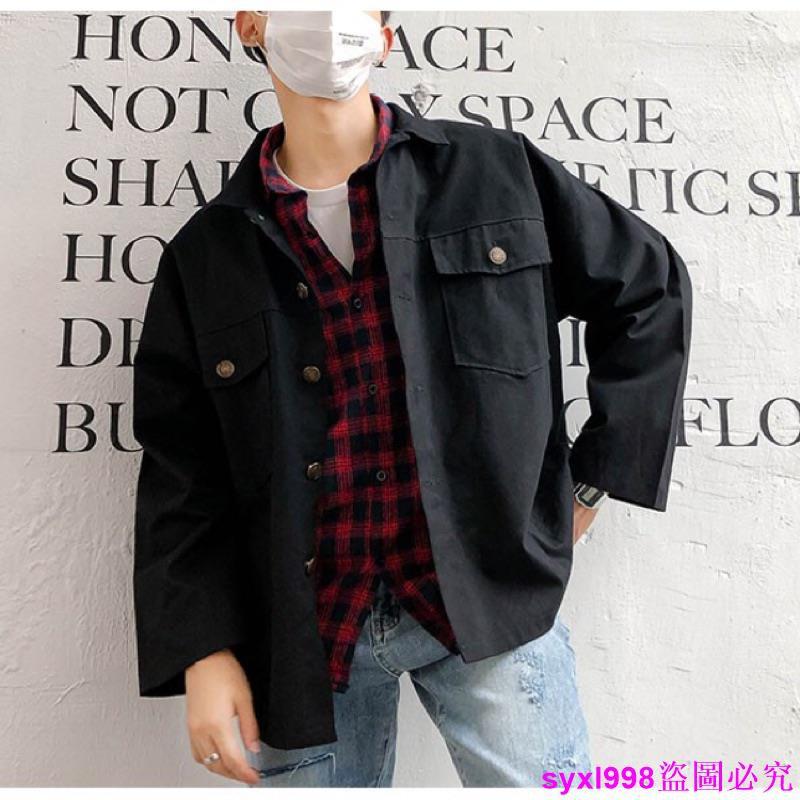 【新款】2色現貨正韓版 男生工裝外套 教練外套 長袖工裝夾克襯衫 帥氣軍裝軍外套軍外套 男裝上衣多口袋薄外套素面
