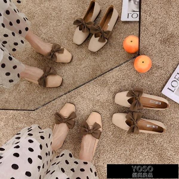豆豆鞋 豆豆鞋女秋季新款蝴蝶結平底淺口軟皮單鞋軟底孕婦百搭仙女鞋 618大促銷