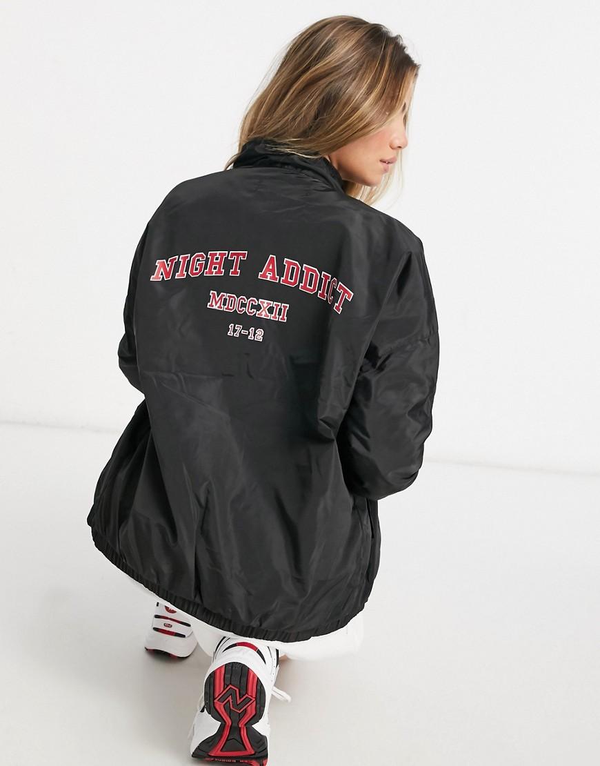Night Addict oversized back print track jacket-Black